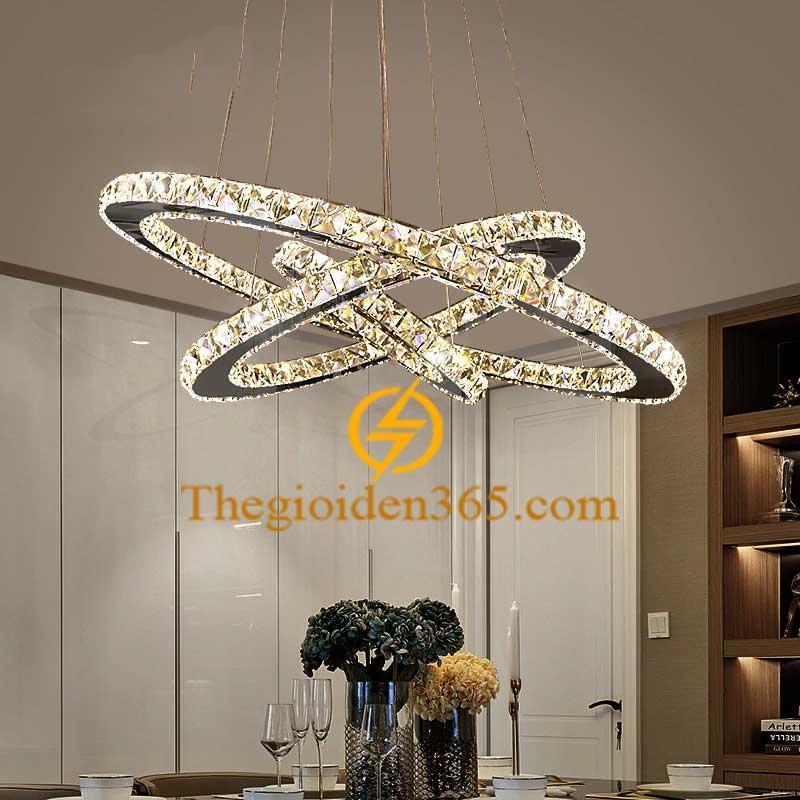 Đèn chùm hiện đại 3 vòng tròn LED pha lê cao cấp TL-R3-YN7139