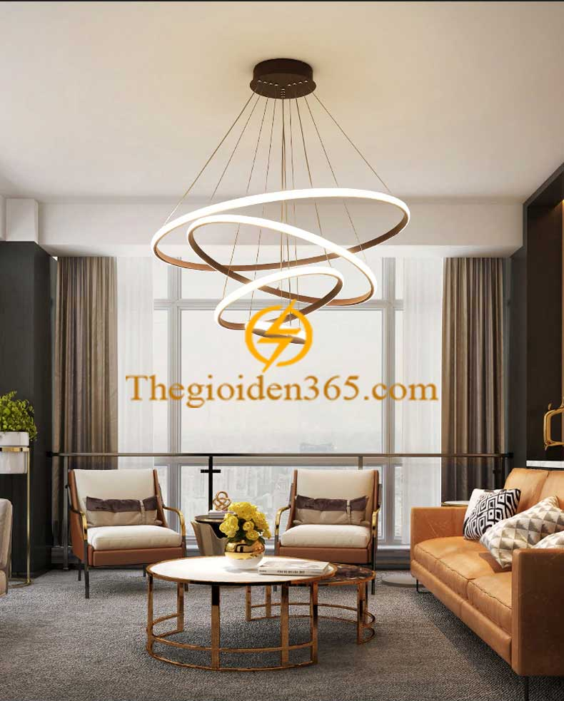 Đèn chùm hiện đại 3 vòng tròn 40-60-80 LED dimmer TL-R3-G01