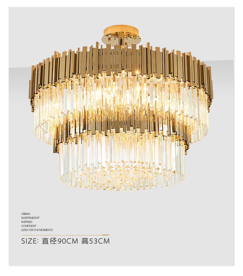 Đèn chùm pha lê K9 tròn hiện đại cao cấp 2 tầng trang trí nội thất TL-DC04-1821PA