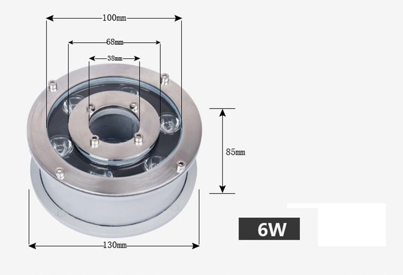 Đèn LED Âm Nước bánh xe 24v 6W IP68 đơn mầu cao cấp TL-UWBX061