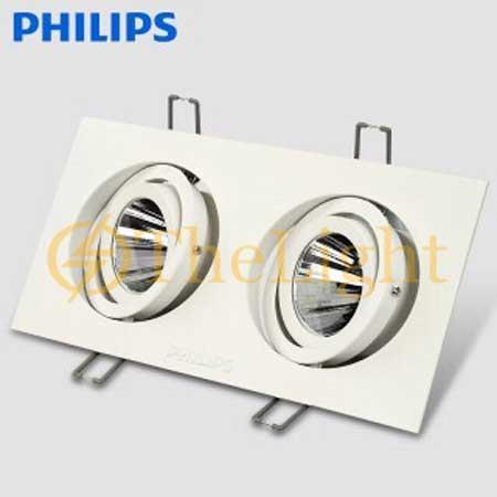 Đèn led chiếu điểm âm trần đôi Philips vỏ trắng GD022B LED8x2 12W