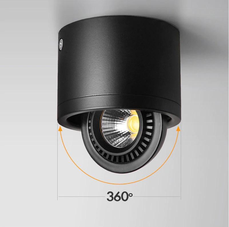 Đèn ống bơ LEB COB xoay góc 360 độ spotlight cao cấp vỏ đen