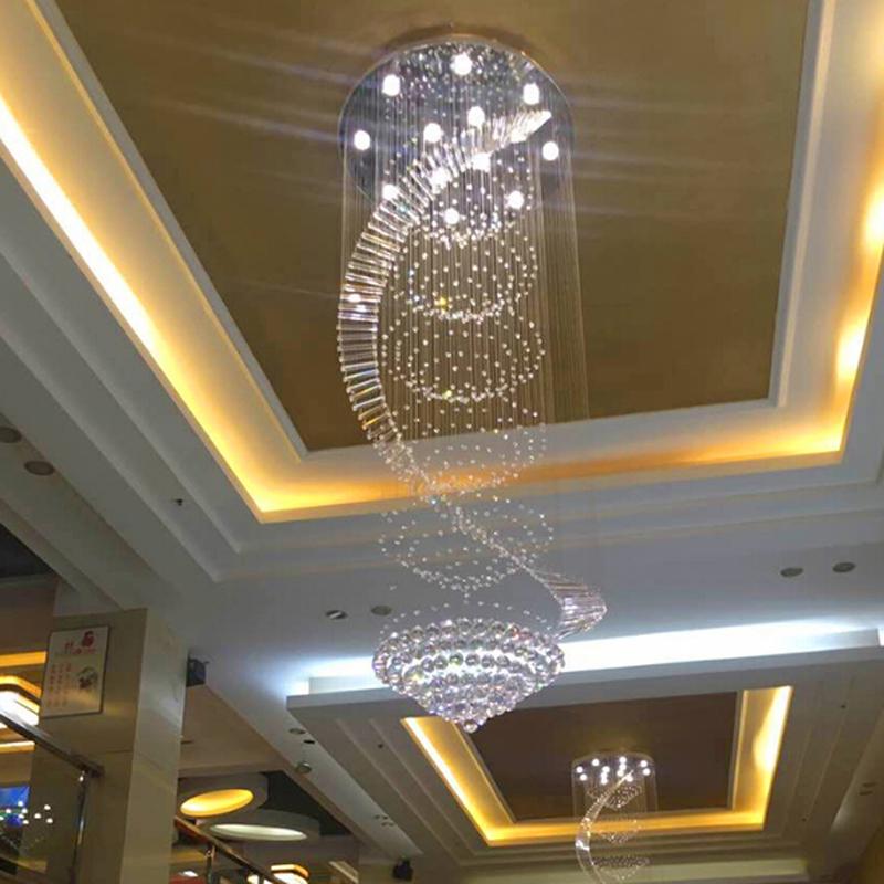 Đèn thả thông tầng cầu thang pha lê bậc thang cao cấp LED 3 mầu dimmer TL-TT-06