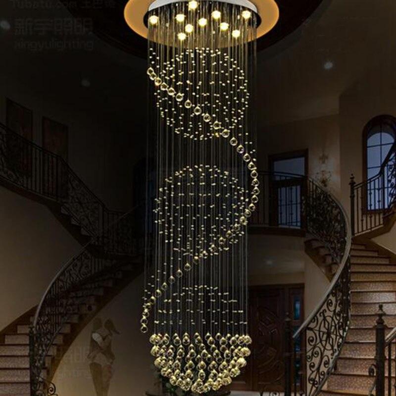 Đèn thả thông tầng pha lê trang trí cầu thang cao cấp LED 3 mầu dimmer hình xoắn ốc TL-TT-02