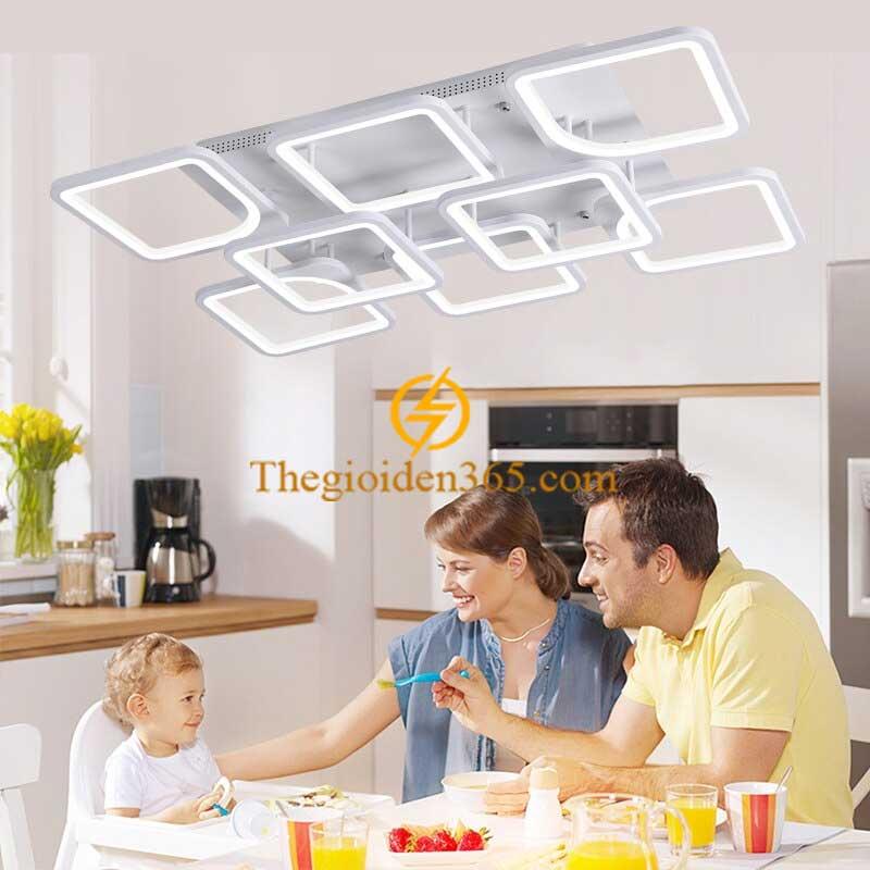 Đèn trần trang trí hiện đại 8 cánh mâm chữ nhật 3 màu D900 TL-TT298