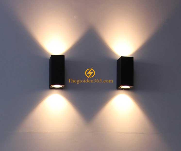 Đèn hắt tường Led 2 đầu vỏ đen khối trụ chữ nhật DHT-2706