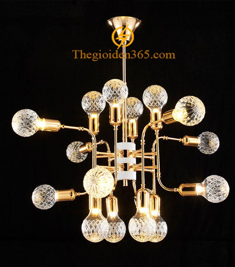 Đèn chùm thả trang trí hợp kim mạ đồng vàng 18 bóng Led G9 chao pha lê trắng D950 DC-PA-6335