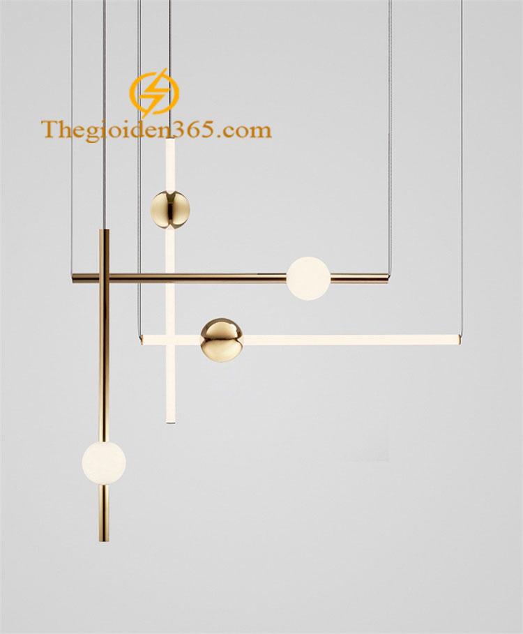 Đèn thả hiện đại thân inox mạ đồng vàng chao thủy tinh tròn mờ TL-PK286-A