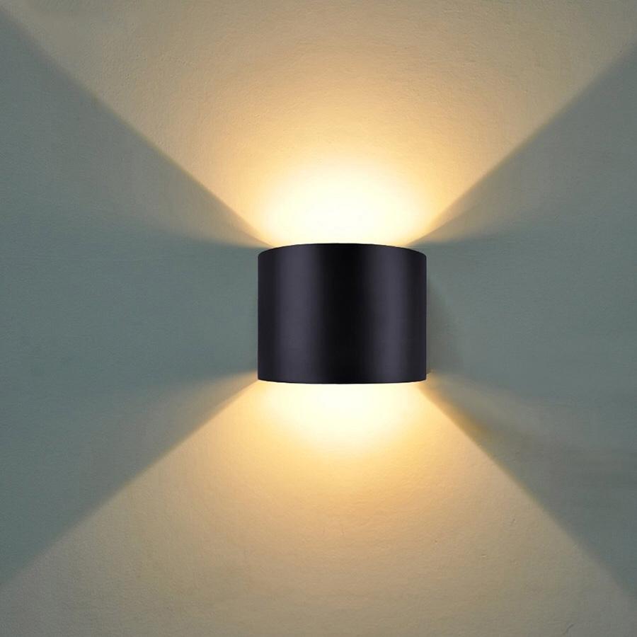 Đèn led hắt tường tròn hiện đại trang trí nội ngoại thất 2 đầu vỏ đen 6W DHT-01TR-6W-B