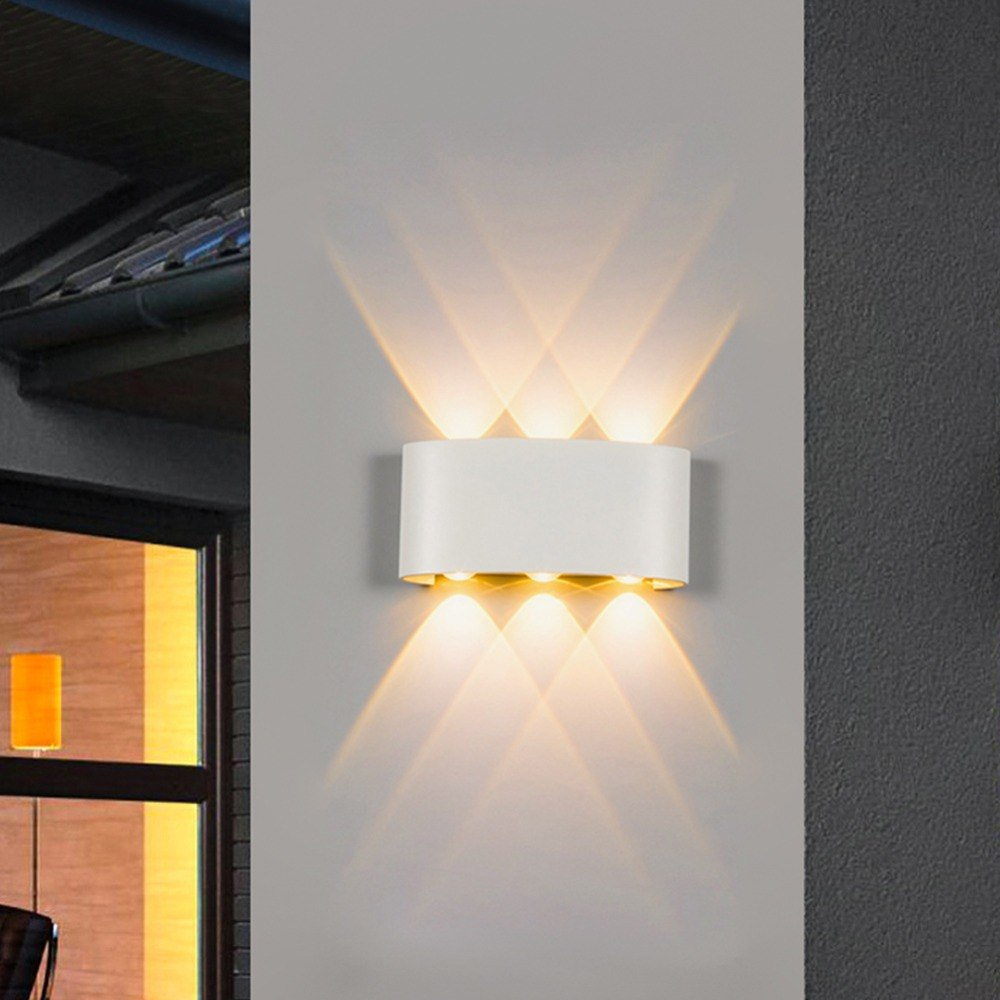 Đèn Led hắt tường hiện đại trang trí hai đầu vỏ trắng 6w 6 mắt TL-DHT06W