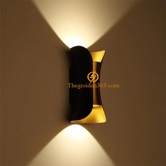 Đèn Led hắt tường hiện đại vát cạnh hai đầu vỏ đen thân vàng 2x5w TL-DHT10W-TR01