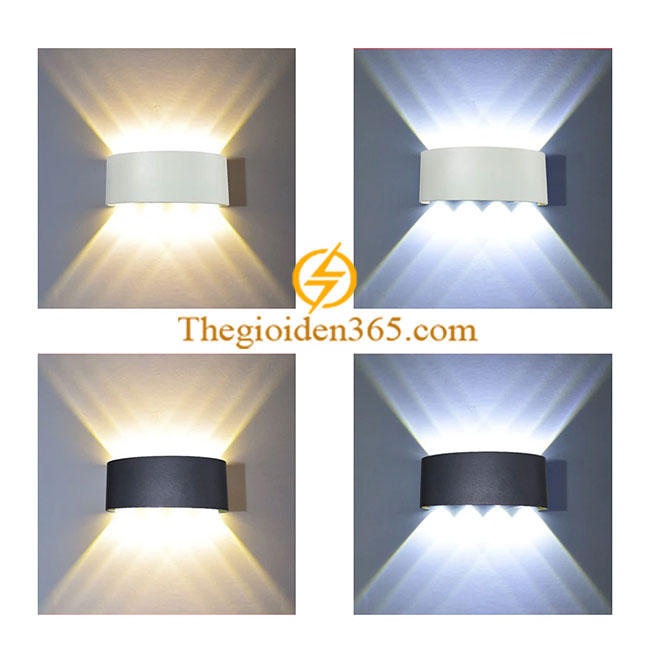 Đèn Led hắt tường hiện đại trang trí hai đầu vỏ đen 8w 8 mắt TL-DHT08W-B