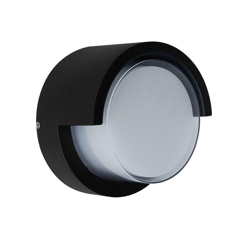 Đèn tường Led tròn hiện đại vỏ đen chụp kính mờ 10w TL-DTTR10W-B
