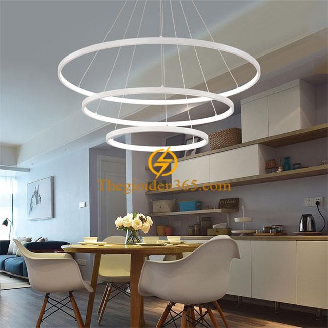 Đèn thả trần Led 3 vòng tròn trắng hiện đại trang trí bàn ăn TL-R3V-TR1
