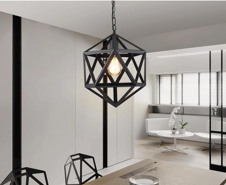 Đèn thả decor chao sắt đen sơn tĩnh điện khối đa giác D350 TL-09DE-350