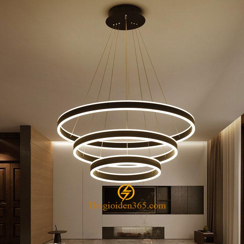 Đèn thả trần Led 3 vòng tròn đen vân xước hiện đại trang trí bàn ăn TL-R3V-DE212G