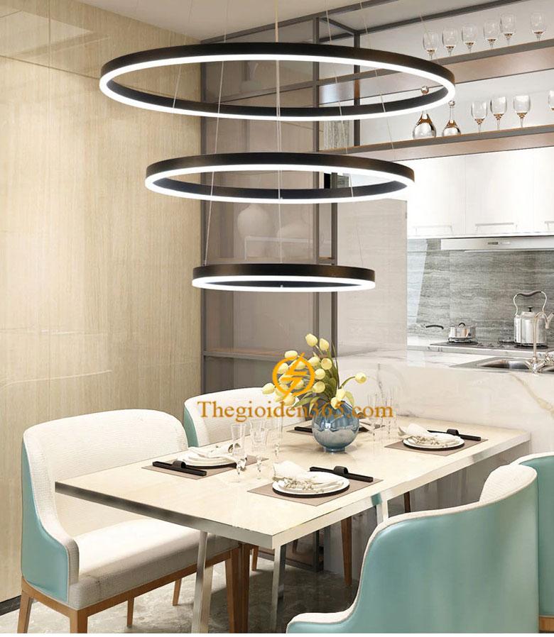 Đèn thả led hiện đại 3 vòng tròn nâu vân xước trang trí bàn ăn TL-R3N-KD03