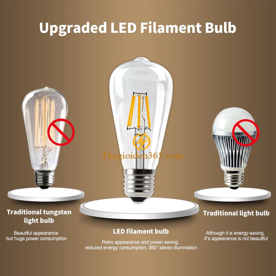 Bóng led bulb trang trí ST64 Filament Edison E27 4w TL-Bulb04-ST64