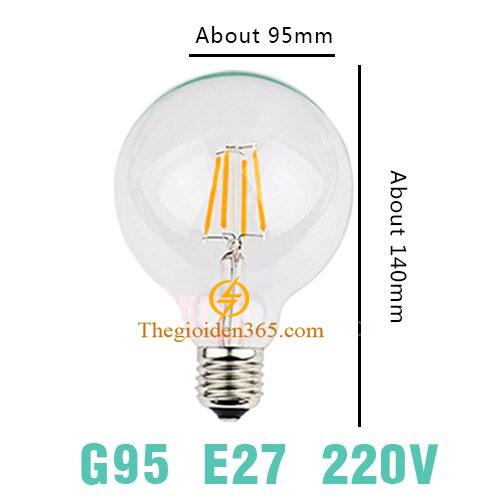 Bóng led bulb trang trí G95 Filament Edison E27 4w TL-Bulb04-G95