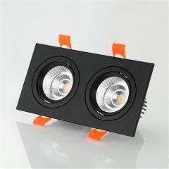 Đèn led âm trần cao cấp vuông đôi vỏ đen 2x7w chip COB TLV-ACOB-7W02