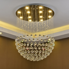 Đèn chùm pha lê K9 mâm tròn hiện đại cao cấp trang trí phòng khách LED 3 mầu TL-DC05-TR