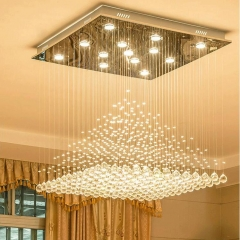 Đèn chùm pha lê K9 mâm vuông hiện đại cao cấp trang trí phòng khách LED 3 mầu TL-DC05-V