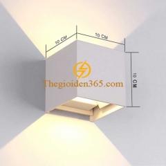 Đèn hắt tường vuông 2 đầu vỏ trắng 12w IP65 trang trí nội ngoại thất DHT-01V-12W-TR