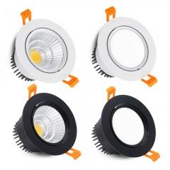 Đèn LED âm trần COB downlight 12w tròn xoay góc 45 độ lỗ khoét 90mm cao cấp TLV-ACOB-01