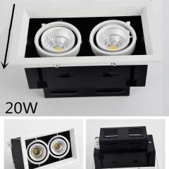 Đèn led chiếu điểm âm trần hộp đôi vỏ đen viền chỉ trắng lõm 20w chip COB cao cấp TLV-ACOB-10W003