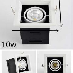 Đèn led chiếu điểm âm trần hộp vuông đơn vỏ đen viền chỉ trắng lõm 10w chip COB  cao cấp TLV-ACOB-10W003