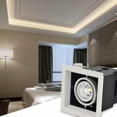 Đèn led chiếu điểm âm trần hộp vuông đơn vỏ đen viền chỉ trắng lõm 12w chip COB  cao cấp TLV-ACOB-12W003
