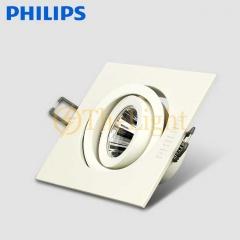 Đèn led chiếu điểm âm trần mặt vuông vỏ trắng 1 trục xoay góc GD022B LED8 6W Philips