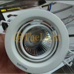 Đèn led chiếu điểm âm trần Philips 7W vỏ trắng xoay góc 2 trục cao cấp 59776 POMERON