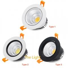 Đèn LED chiếu điểm âm trần tròn xoay góc 45 độ lỗ khoét 90mm COB downlight 10w cao cấp TLV-ACOB-01