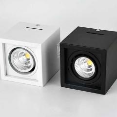 Đèn LED chiếu điểm ốp trần vuông spotlight LED COB 7w xoay góc 45 độ D100mm TL-OBV-01