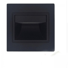 Đèn led hắt ốp chân tường gắn âm bậc cầu thang 1w vỏ đen TL-CT01