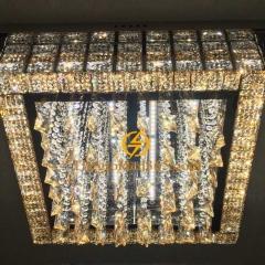 Đèn Mâm pha lê vuông ốp trần trang trí phòng khách TL-MYN-3222