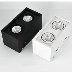 Đèn ốp trần hộp nổi đôi vuông spotlight LED COB 2x7w xoay góc TL-OBV-02