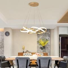 Đèn thả bàn ăn LED cao cấp vỏ vàng hiện đại tăng giảm sáng D50cm TL-BA-063