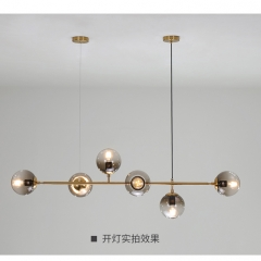 Đèn thả bàn ăn thủy tinh hiện đại 6 bóng LED cao cấp TL-BA-062