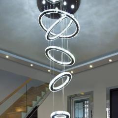 Đèn thả thông tầng 5 vòng tròn pha lê K9 LED hiện đại TL-R5V-05