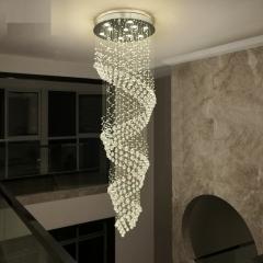 Đèn thả thông tầng cầu thang pha lê cao cấp LED 3 mầu dimmer hình xoắn ốc 4 tầng D100 TL-TT-05