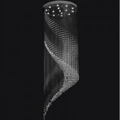 Đèn thả thông tầng cầu thang pha lê hình xoắn ốc lớn cao cấp LED 3 mầu dimmer TL-TT-07