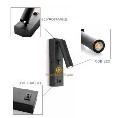 Đèn đọc sách gắn tường cao cấp Led tích hợp cổng sạc USB TL-DSB01