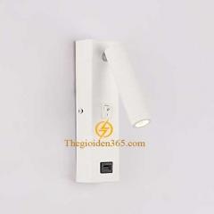 Đèn tường đọc sách cao cấp Led 3w vỏ trắng tích hợp cổng sạc USB TL-DSW01