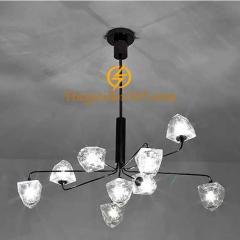 Đèn chùm hiện đại chao thủy tinh đa giác 9 bóng G9 TL-DC301