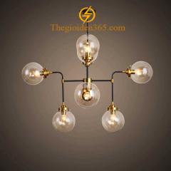 Đèn thả bàn ăn chao thủy tinh 8 bóng hiện đại TL-BA02