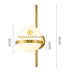 Đèn tường thủy tinh hiện đại D200 mạ đồng vàng chao thủy tinh mờ DTT-006