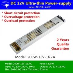 Nguồn LED dây 12v 200w 16.7A cao cấp TLD-12V-PW01