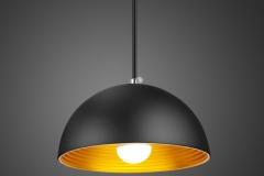 Đèn thả trang trí chao sắt đen, lòng vàng sơn tĩnh điện phong cách Châu Âu D400 TL-69DE-400